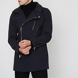 Dunkelgrauer Mantel aus Wollmischung
