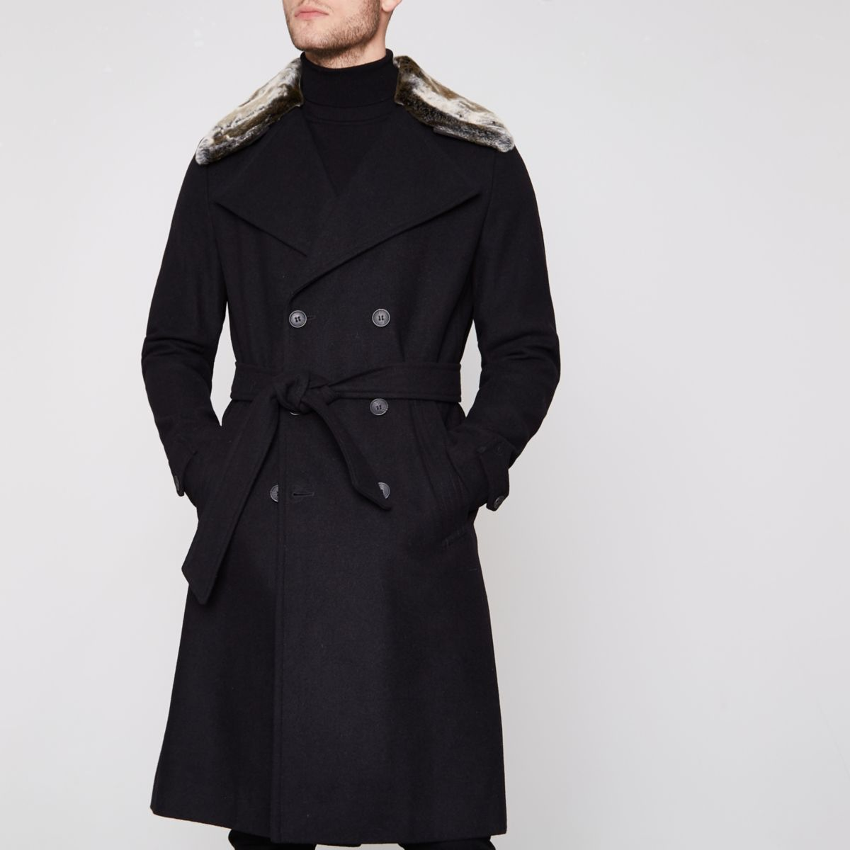 Black faux fur collar belted trench coat