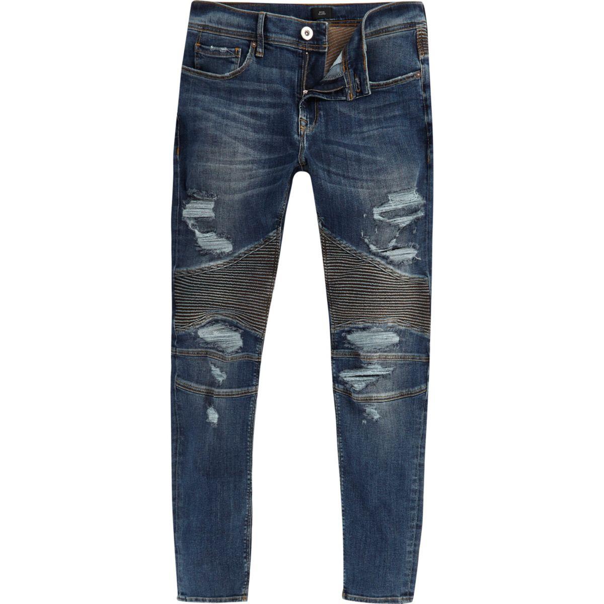 Blue Danny biker ripped super skinny jeans