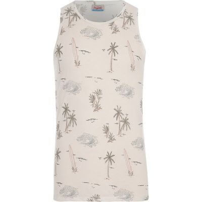 Jack and Jones Witte tanktop met surfprint