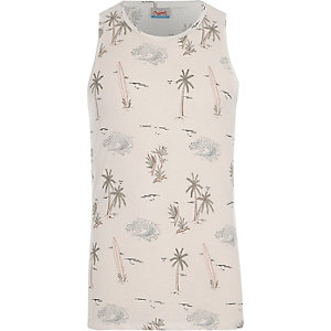 White Jack & Jones surf print tank top