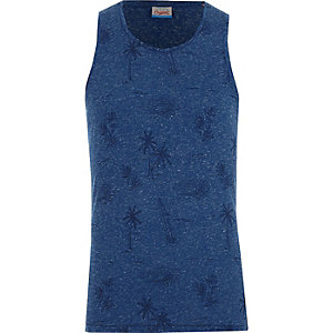 Blue Jack & Jones surf print tank top