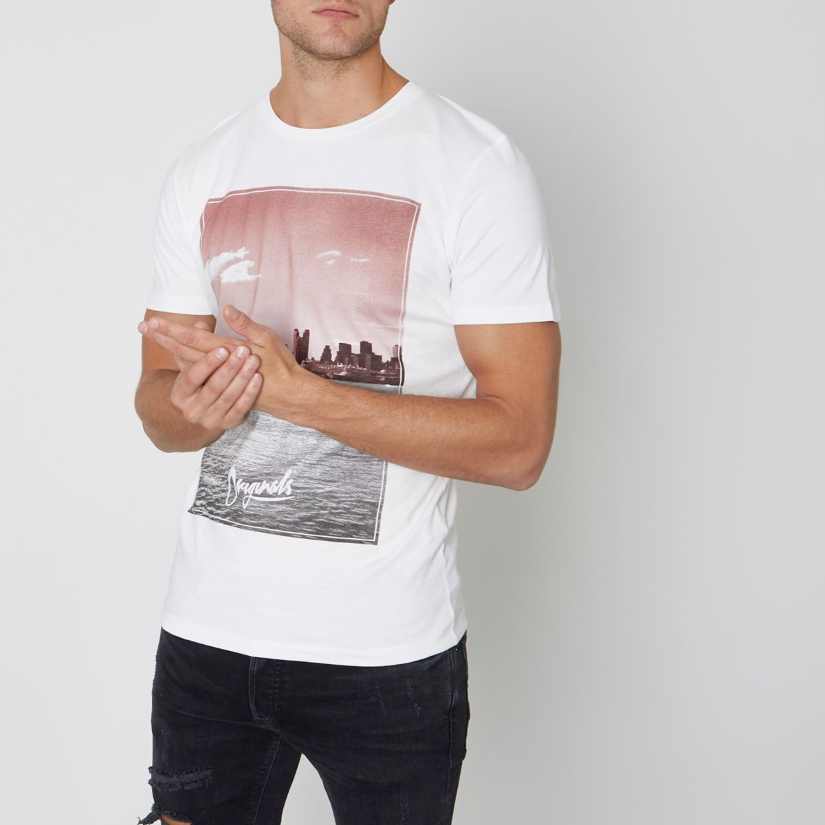 White Jack & Jones Originals skyline T-shirt