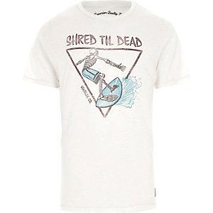 Jack & Jones Vintage – T-shirt imprimé squelette blanc