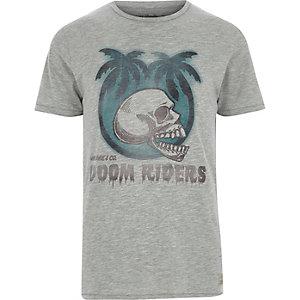 Jack & Jones - Grijs vintage T-shirt met doodshoofdprint