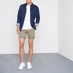 Stone rolled hem chino shorts
