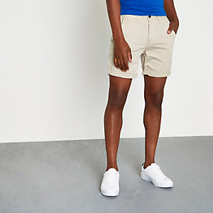 Sand brown rolled hem chino shorts