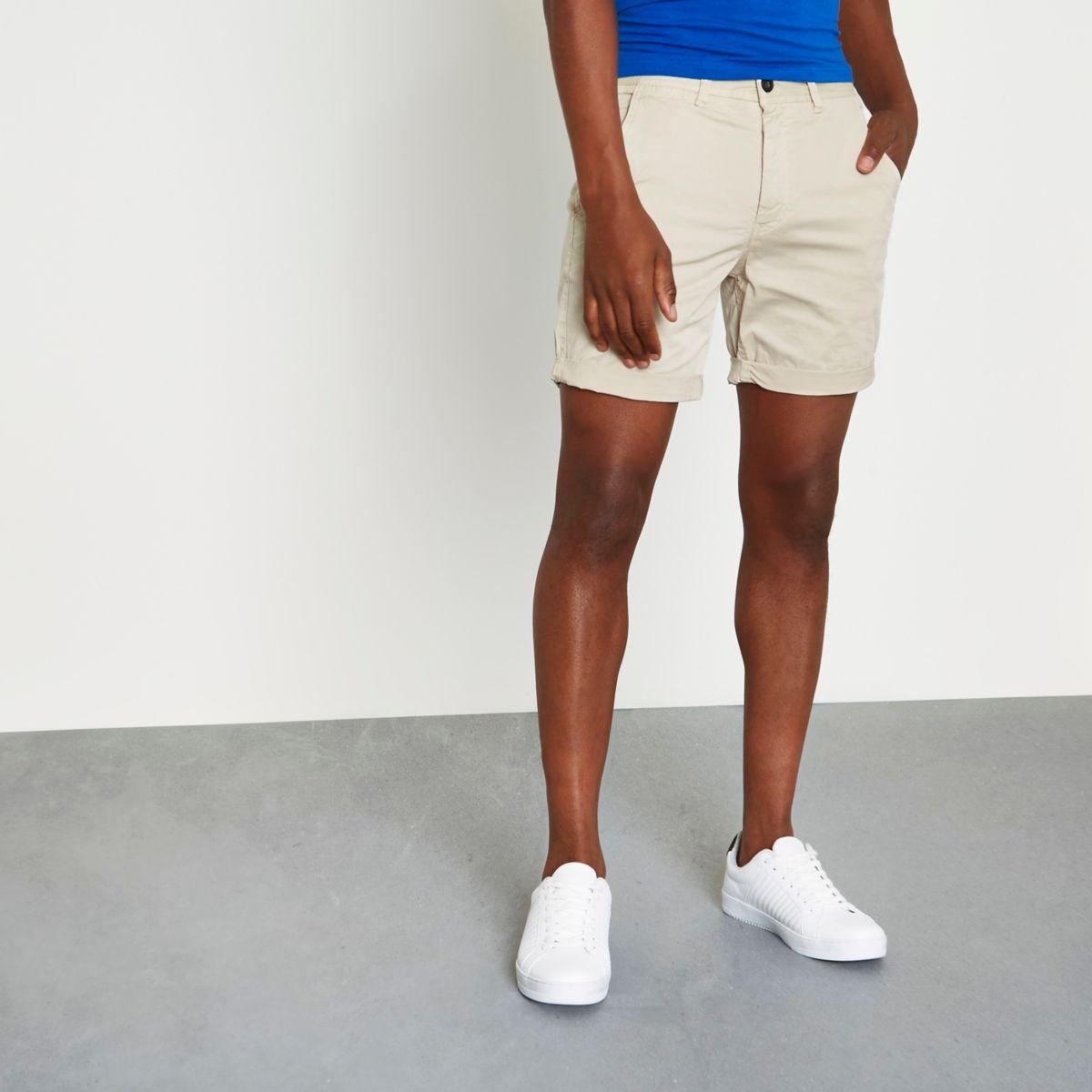 Sand brown rolled hem chino shorts