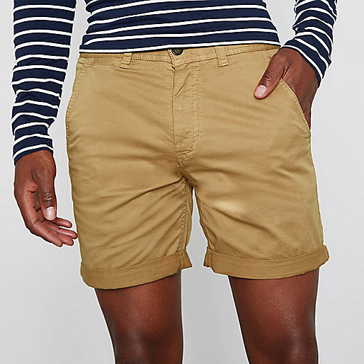 Tan brown rolled hem chino shorts