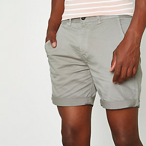 Light grey rolled hem chino shorts