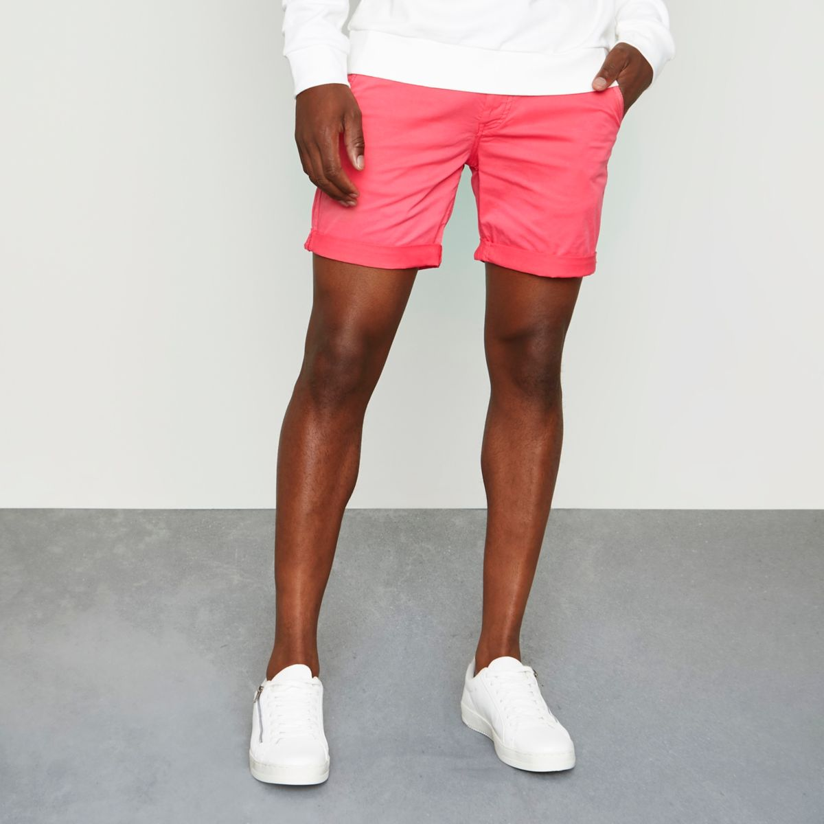 Bright red rolled hem chino shorts