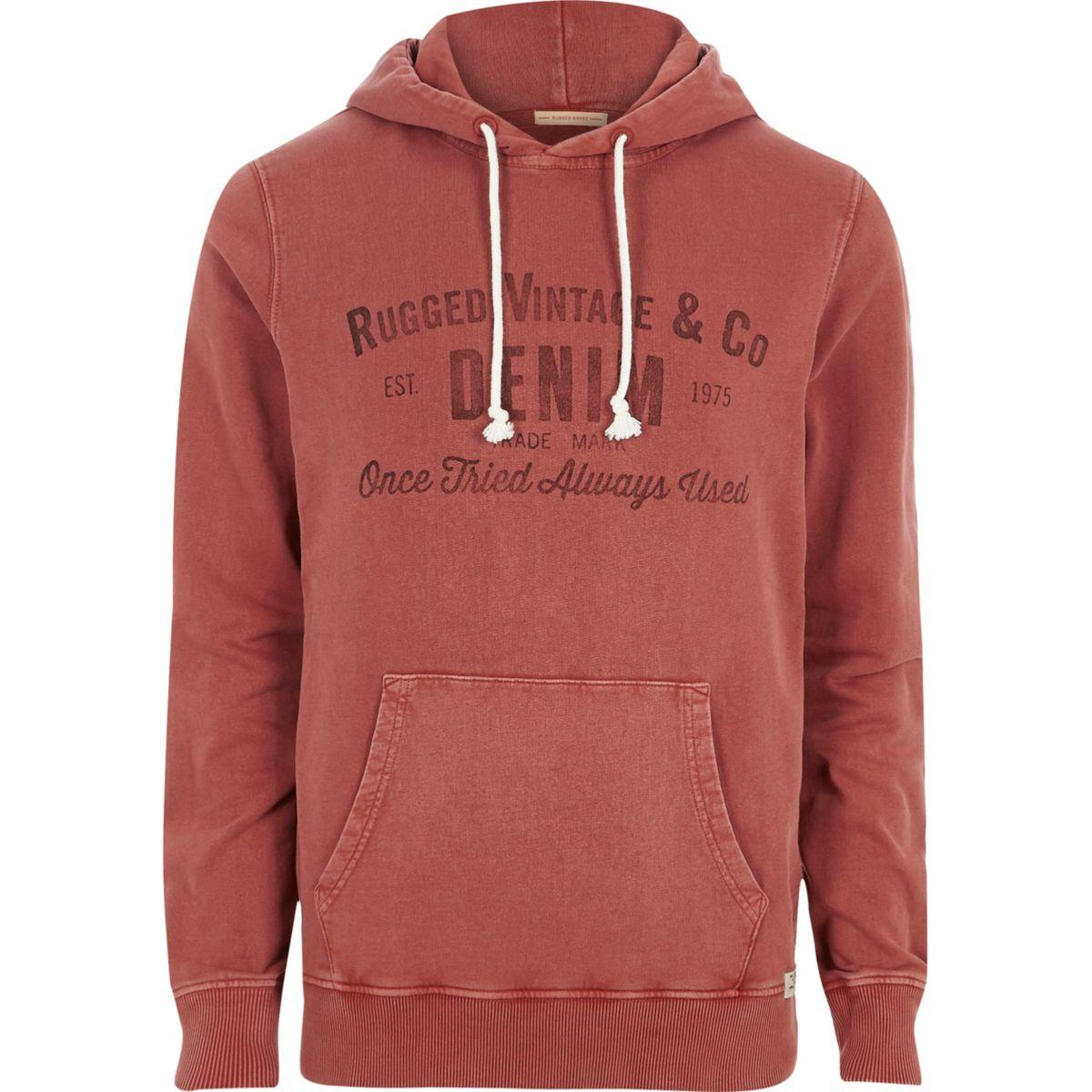 Red Jack & Jones print hoodie
