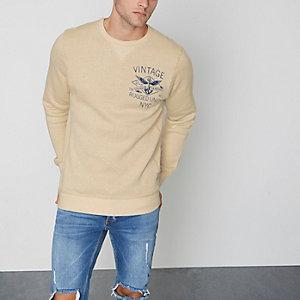 Jack & Jones Vintage – Bedrucktes Sweatshirt in Creme
