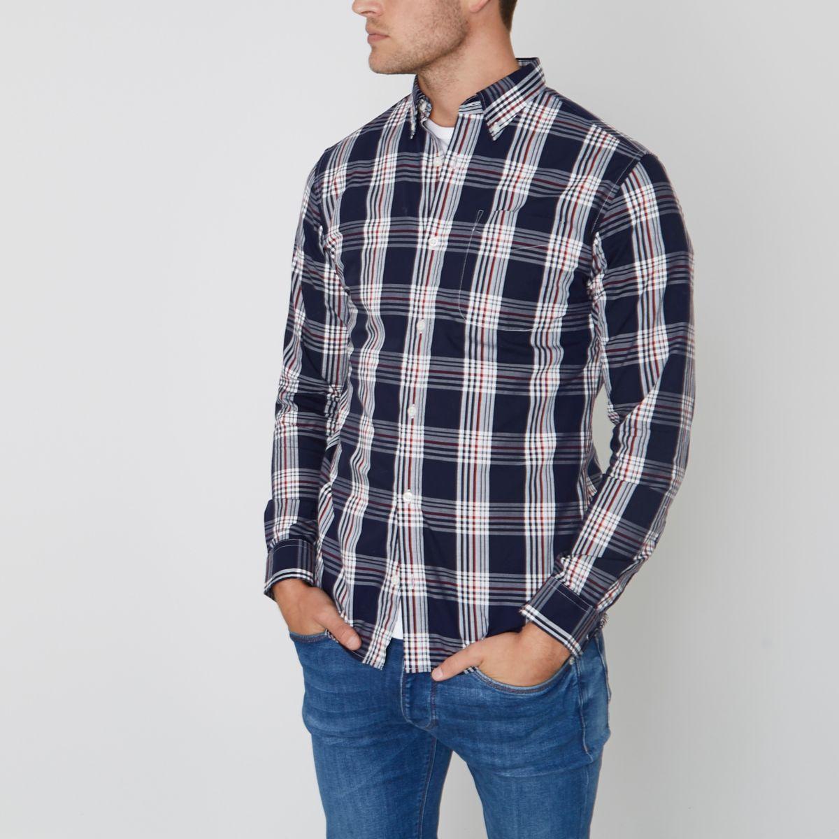 Jack & Jones - Blauw premium geruit overhemd