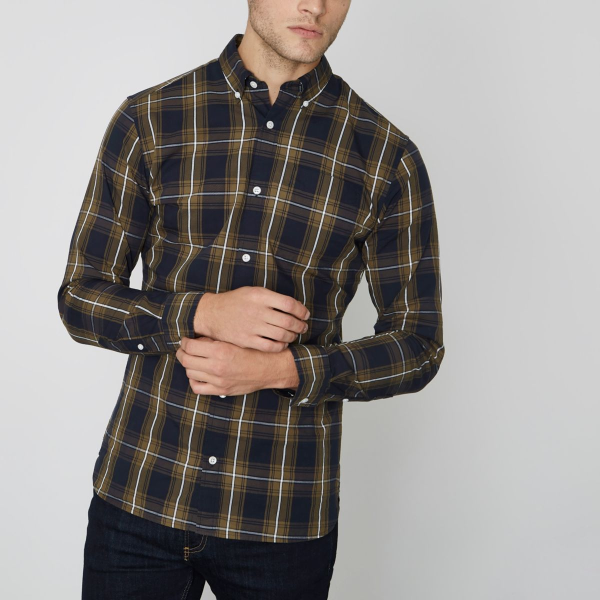 Green Jack & Jones Premium slim check shirt