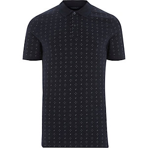 Navy Jack & Jones Premium print polo shirt