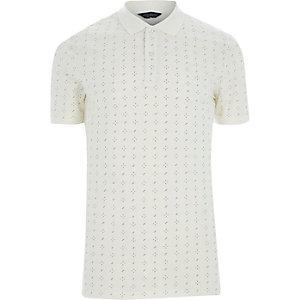 White Jack & Jones Premium print polo shirt