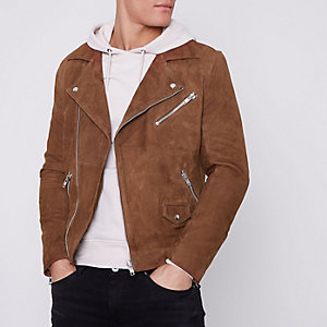 Brown suede biker jacket