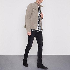 Steingraue Jacke aus Premium-Wildleder