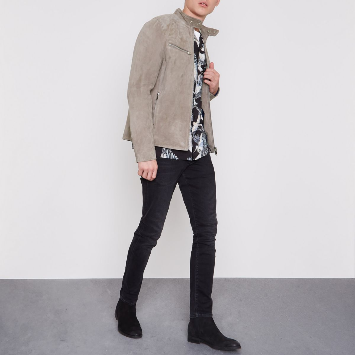 Stone suede racer jacket