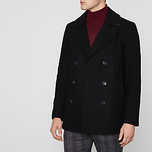 Black double breasted wool blend peacoat