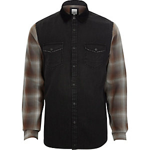 Black long check sleeve denim hybrid shirt