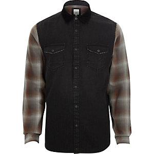 Zwart lang hybride denim overhemd met geruite mouwen