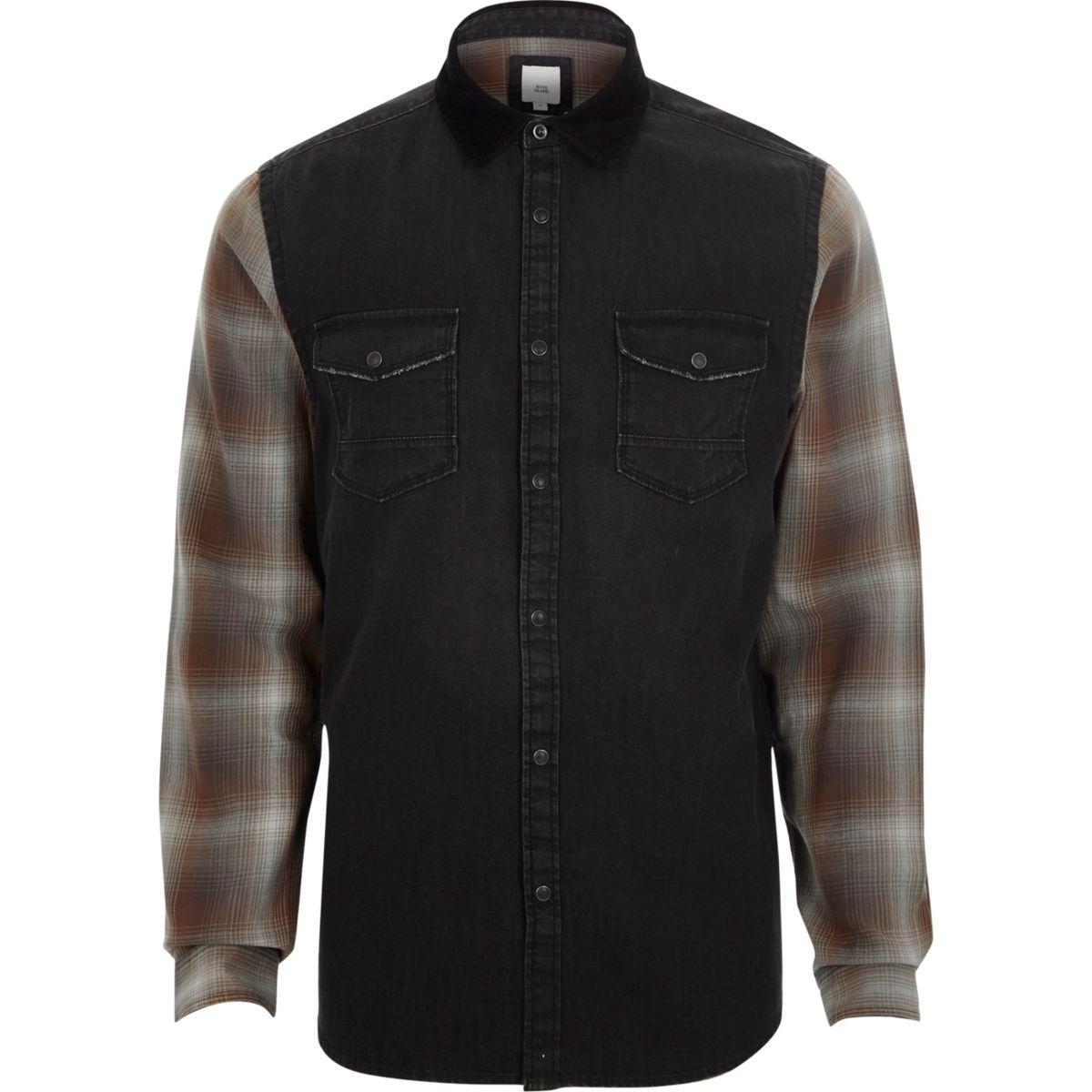 Black long check sleeve denim hybrid shirt