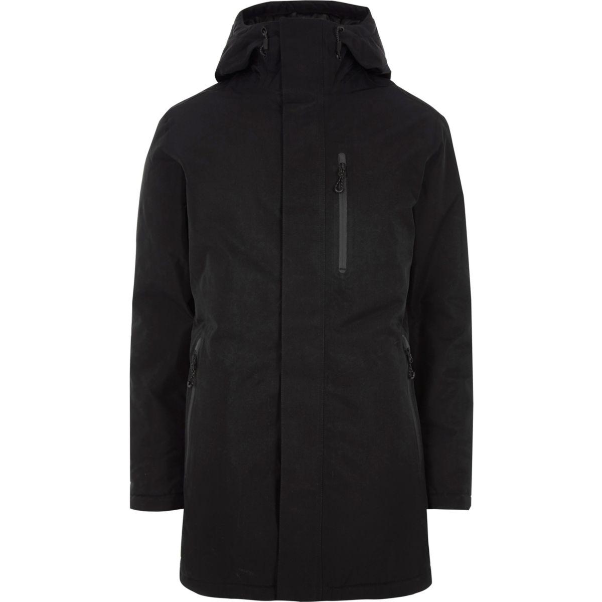 Jack & Jones Tech black parka coat