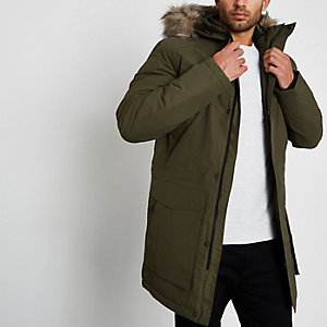 Green Jack & Jones Tech faux fur trim parka
