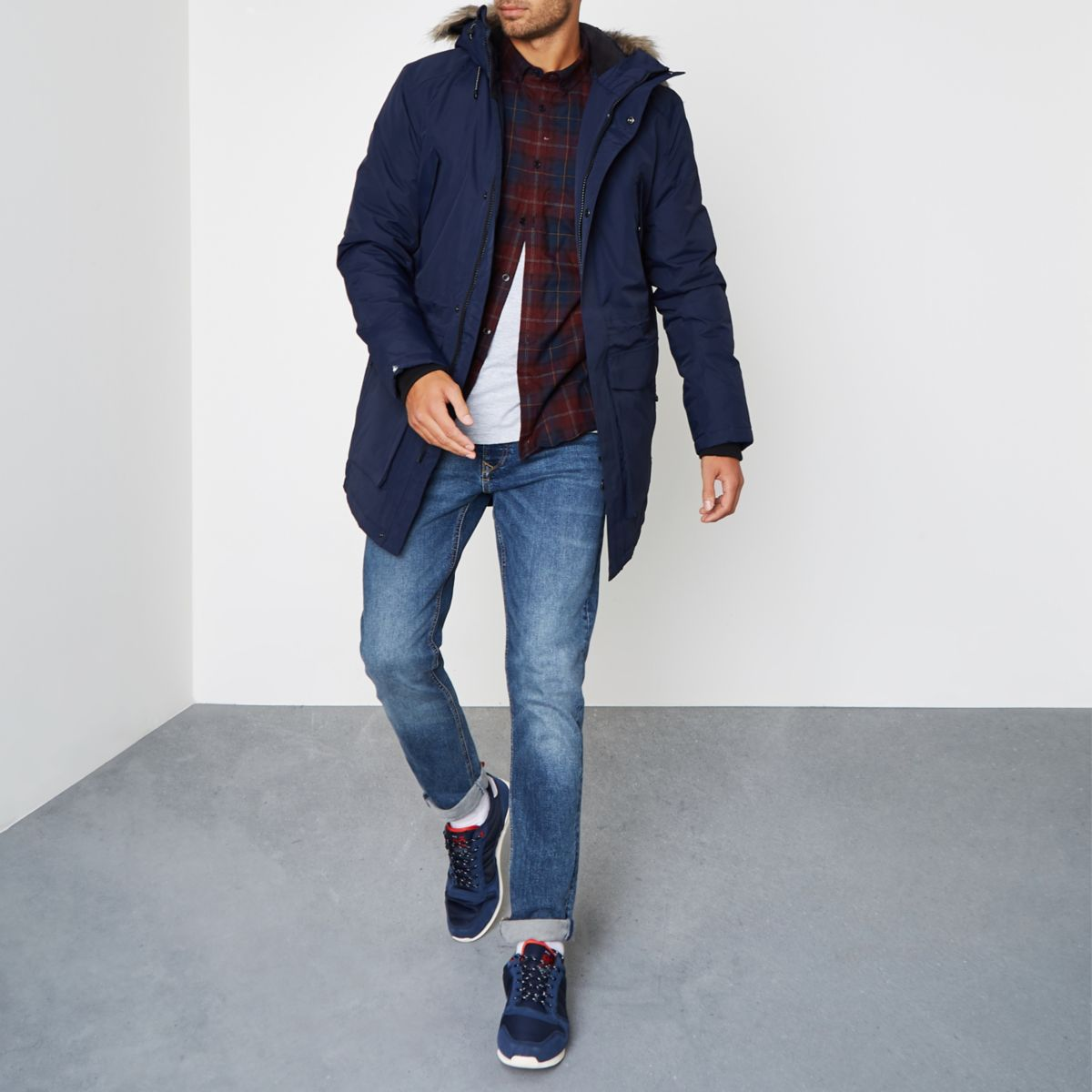 Navy Jack & Jones Tech faux fur trim parka