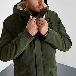 Khaki Jack & Jones Premium parka coat