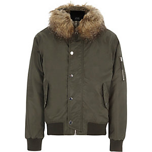 Khaki green faux fur trim hooded jacket