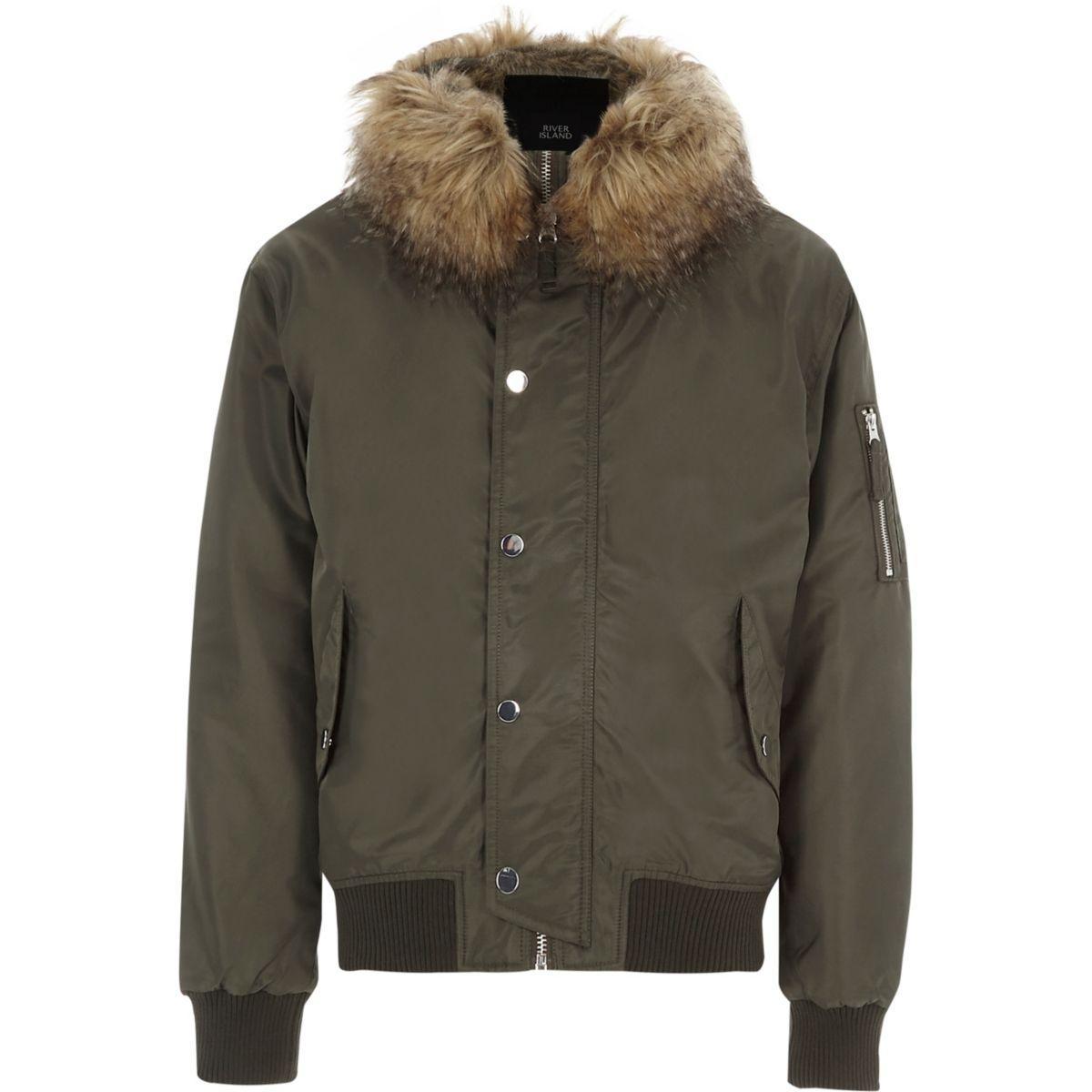 khaki green faux fur trim hooded jacket coats jackets sale men. Black Bedroom Furniture Sets. Home Design Ideas