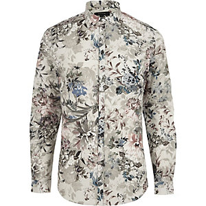 Big and Tall cream floral print shirt