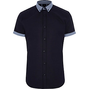 Navy polka dot collar short sleeve shirt