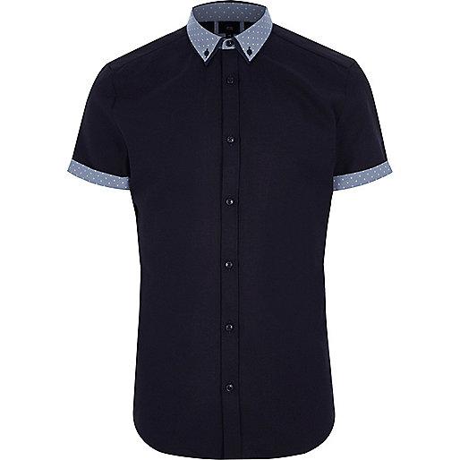 Navy polka dot collar short sleeve shirt