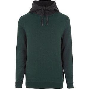 Donkergroene hoodie met contrasterend trekkoord