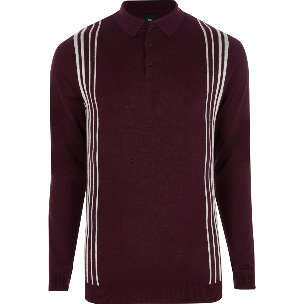 Burgundy stripe panel long sleeve polo shirt