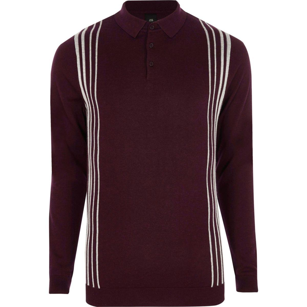 Burgundy stripe panel long sleeve polo shirt