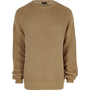Camel oversized fisherman jumper