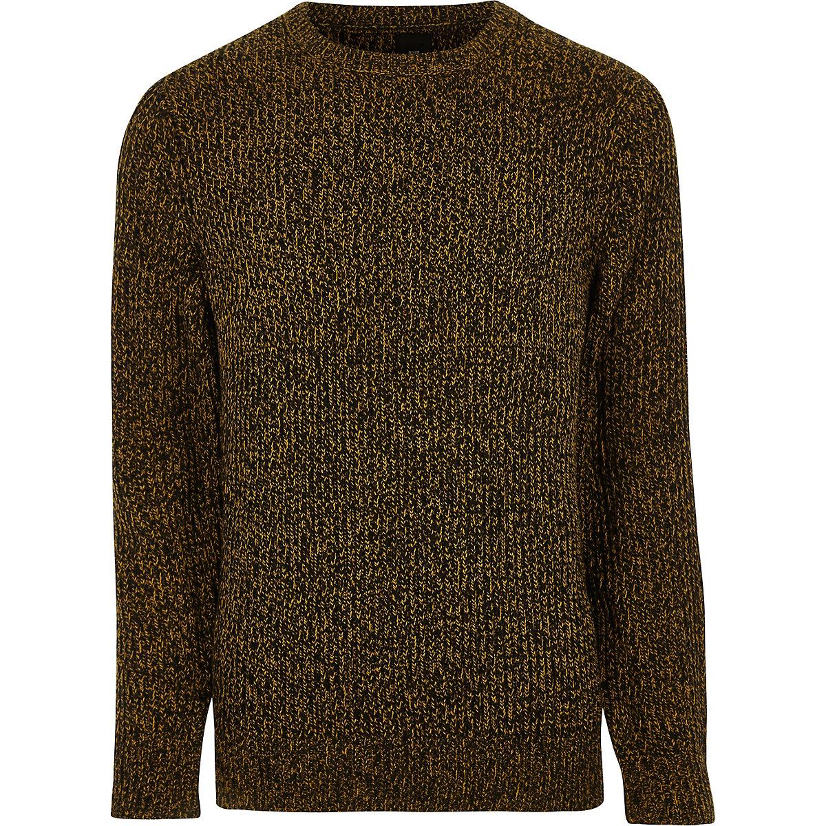 Mustard yellow crew neck knit sweater