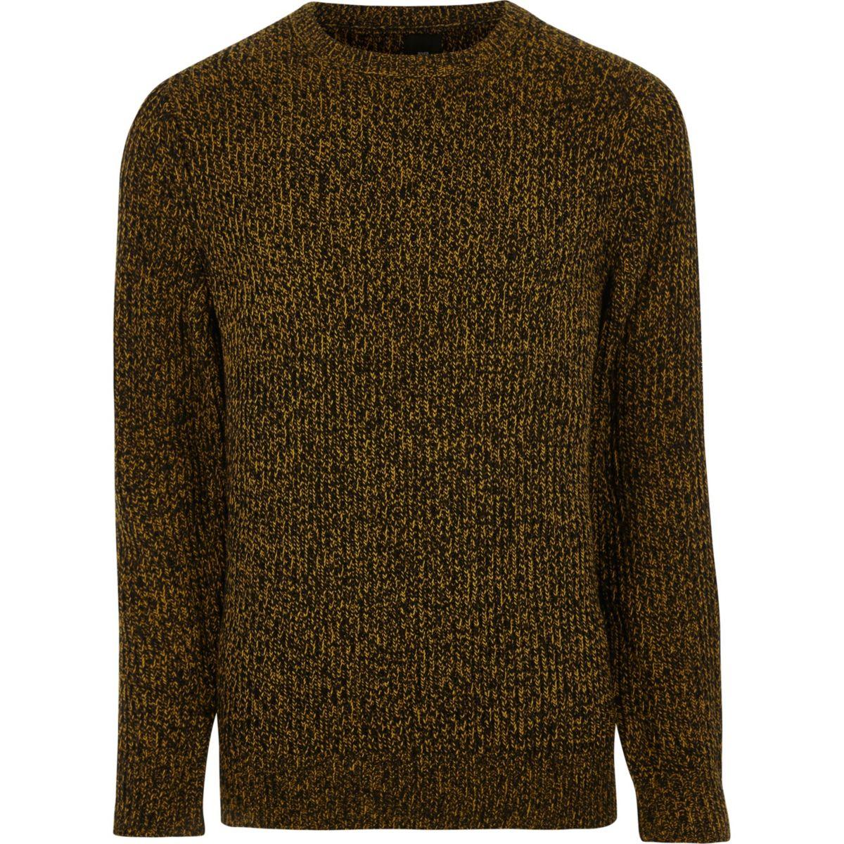 Mustard yellow crew neck knit jumper