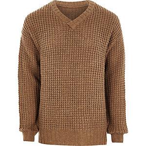 Camel waffle knit V neck sweater