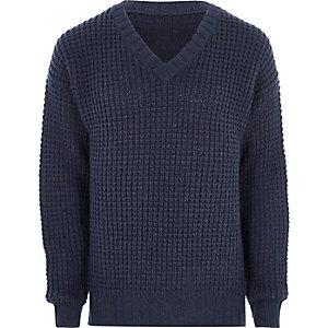 Navy waffle knit V neck sweater