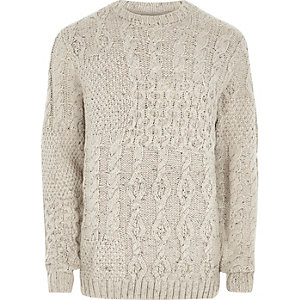 Cream spliced cable knit jumper
