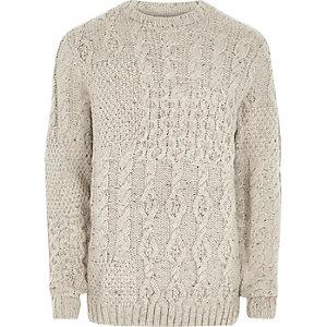 Pull en tricot torsadé crème à empiècements