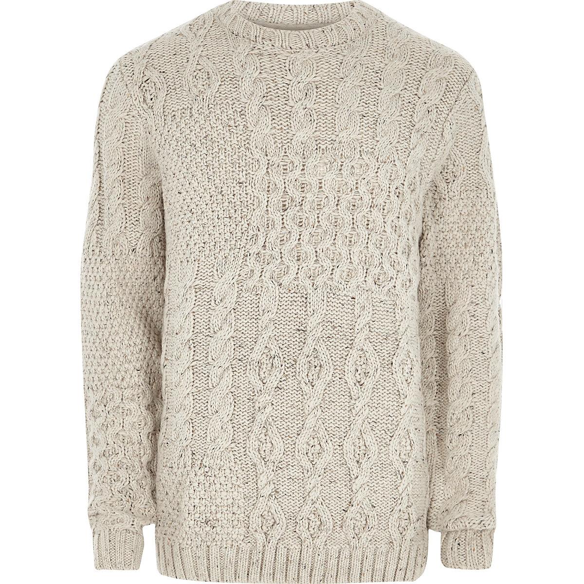 Cream spliced cable knit jumper