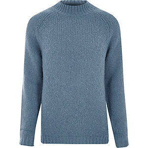 Light blue funnel neck jumper