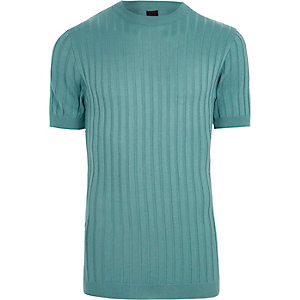 Teal green chunky ribbed muscle fit T-shirt